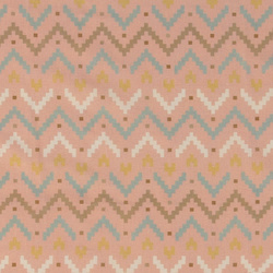 Cotton rose w multicolour zig zag print