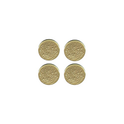 Shank button embossed 15mm mat gold 4pcs