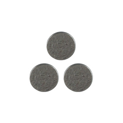 Shank button embossed 20mm silver 3pcs