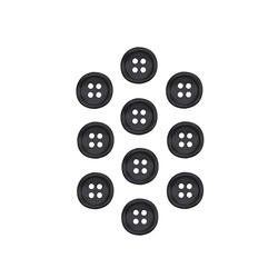 Shirt button 12mm black 4 holes 10 pcs