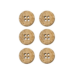 Button coconut 18mm 4 holes 6 pcs