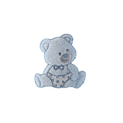 Stoffapplikation Teddy 43x45mm Hellblau