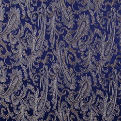Jacquard satin blue w flowers