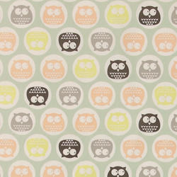 Non-woven oilcloth mint w owl in dots