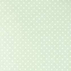 Woven oilcloth light green w white dots