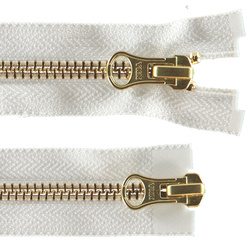 YKK zip 6mm 2-way open end gold/white