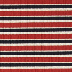 Stretch rib red YD stripe with lurex