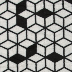 Coral fleece black/offwhite cube pattern