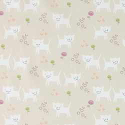 Cotton sand with cats and flowers