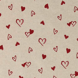 Linen look w small red hearts