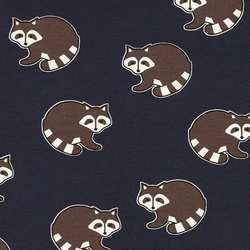Stretch jersey dark navy w retro racoon
