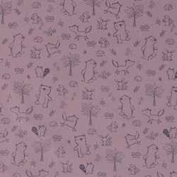 Cotton dusty purple w animals