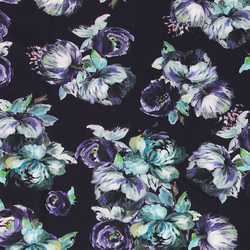Viscose stretchjersey lila m blomma