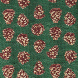 Jacquard green with pinecones