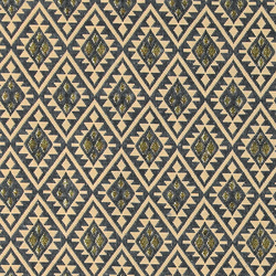 Jacquard blue/beige/gold pattern