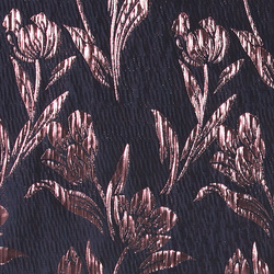 Jacquard midnight blue w cobber flowers