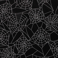 Non-woven oil cloth black w white cobweb