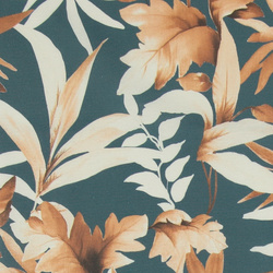 Woven petrol blue with rust/white leaves