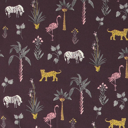 Cotton d purple w trees and wild animals