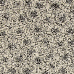 Woven oilcloth linenlook w black flowers