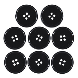 Button 4-holes 25mm black 8pcs