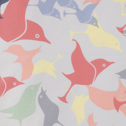 Cotton grey w abstract multicolor birds