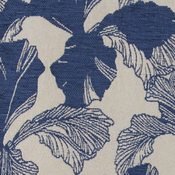 Chenille jacquard sand w blue leaves