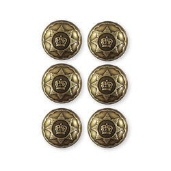 Shank button metal 20mm oxi. brass 6pcs