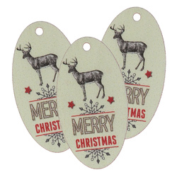 Deco manilla tag reindeer 75x40mm 3pcs