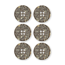 Button 4-holes 22mm brown/structure 6pcs