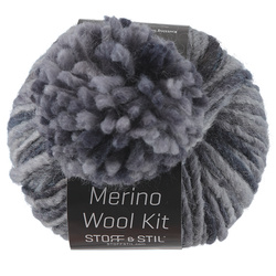 Garn merino wool kit m/pon pon blå mix