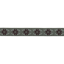 Ribbon jacquard 15mm green/bordeaux 3m