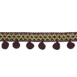 Pompon ribbon 15/30mm bordeaux/gold 2m