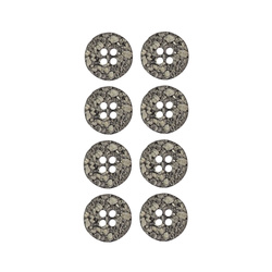Button 2 holes 15mm grey 8pcs
