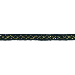 Strickband 10mm, Blau/Gold Lurex, 3 m
