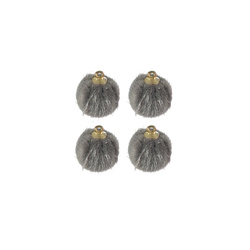 Shank button fake fur 15mm grey 4pcs