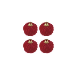 Shank button fake fur 15mm red 4pcs