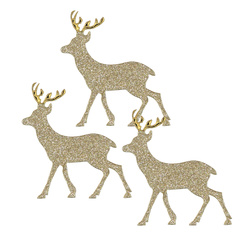 Deco reindeer 60x65mm gold 3 stk