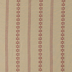 Yarn dyed cotton sand red stripe/flower