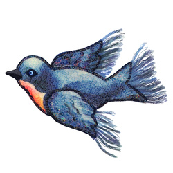 Patch bird 110x85mm blue 1pc
