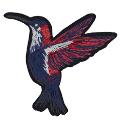 Patch hummingbird 77x75mm red/blue 1pc