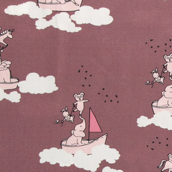 Cotton satin dusty rose w cloud - animal
