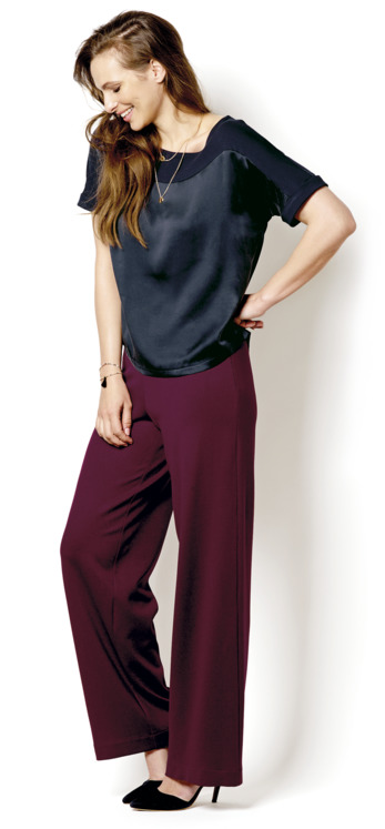 Blue shirt and burgundy pants