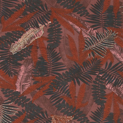 French terry stretch dark rouge w leaves