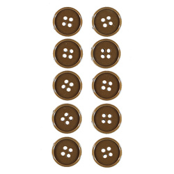 Button 4-holes 15mm caramel 10pcs
