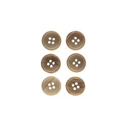 Button wood 15 mm 4-holes 6pcs