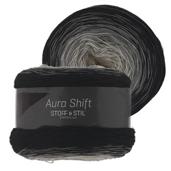 Garn aura shift sort/grå/natur 150g