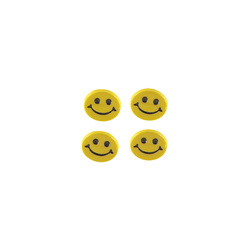 Shank button 15mm yellow smiley 4pcs