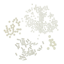 Bead 2-12mm white/mother ofpearl 190pcs