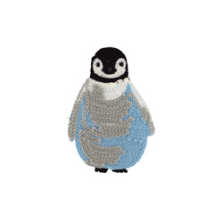 Patch penguin 75x53mm grey/blue 1pc